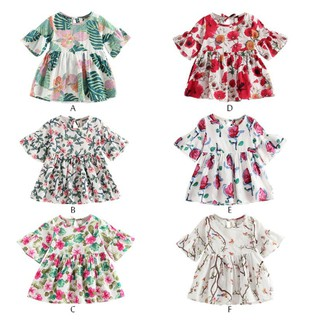 Kids Girls Summer Clothes Floral Sundress Elastic Waist Dress