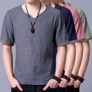 Chinese Style Cotton and Linen Men's Short-sleeved Loose Large Size Thin T-shirt