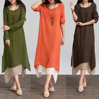 【BUY 2 FREE SHIPPING】Women Contrast Double Layer Boho Long Retro Maxi Dress