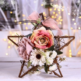 PTCR_Thanksgiving Day Artificial Flower Rattan Star Wreath Garland Home Hanging Decor