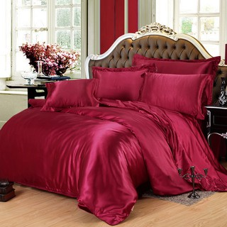 Hot 100% Pure Satin Silk Bedding Set Luxury Wine Red Home Textile 4/3pcs