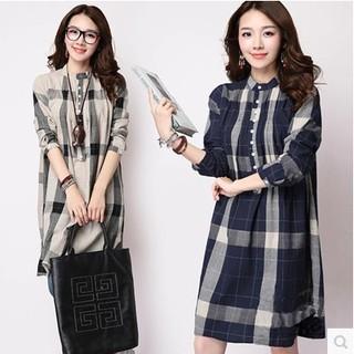 Women Ladies Long Sleeved Plaid Loose Shirt Blouse Tops Fashion Casual Lapel
