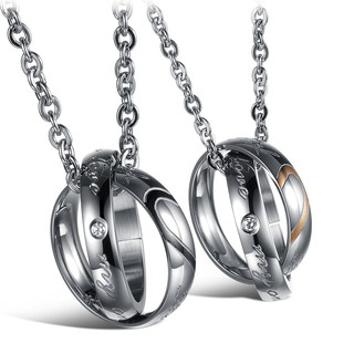 2Pcs His and Hers Stainless Steel Matching Set Heart Couple Pendant Necklace