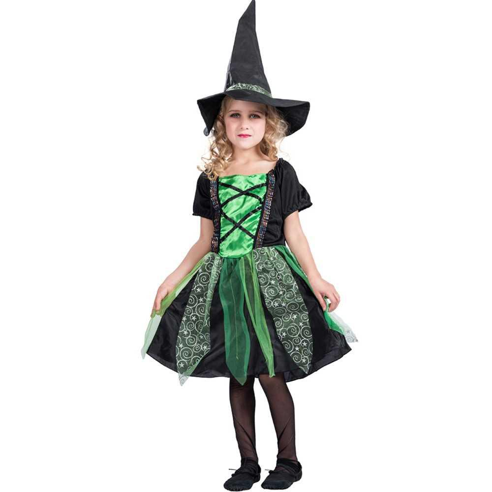 Girls Halloween Groovy Witch Dress & Hat Kit