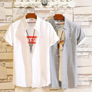 White shirt male short-sleeved 2019 summer white shirt male Korean version of th