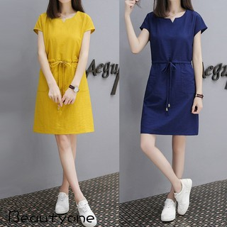 Women Fashion Short Sleeve Bowknot Slim Waist Cotton Linen Midi Dress