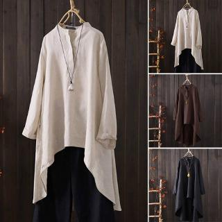Women Blouse Muslimah Plus Size Tops Baju Kurung Moden Retro Irregular Baggy Cotton Long Sleeve Causal Solid Colour