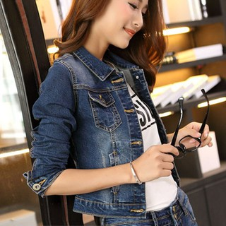 ✨🌼READY STOCKWomen Denim Jackets Long Sleeve Short Jeans Jacket Woman Denim Coat