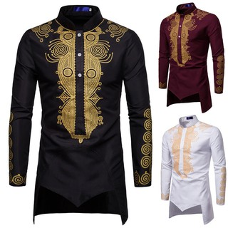 🔥Ready Stock🔥Men's Autumn Winter Luxury African Print Long Sleeve Dashiki Shirt Top Blouse