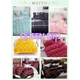 100% Cotton QUEEN SIZE 5 IN 1 Premium High Quality Fitted Bedsheet