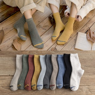 Korean version of the tube socks solid color socks female cotton socks cotton couple socks women
