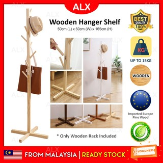 ALX MOSO Europe Pine Wood Solid Wooden Hanger Simple Floor Coat Living Room Bedroom Storage Renting Decoration Rack