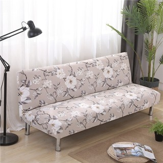 Grey Flowers Stretch No-handrail Sofa Bed Covers/Elastic Sofa Bed Slipcover