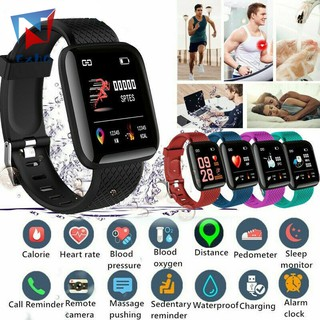 ExhGHigh quality 116 PLUS Color Screen Smart Watch Heart Rate Blood Pressure Waterproof Fitness Tracking Watch @MY
