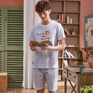 Pajamas Men's Cotton Short Sleeve Cartoon Day Thin Cotton Men's Pajamas Home Ser
