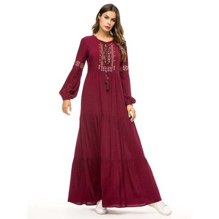 Express Amazon cross border simple embroidered dress Muslim robe loose long skirt yellow, Burgundy, dark green M / L / X
