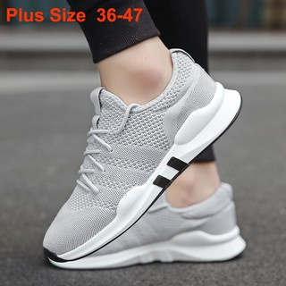 Ready Stock Plus Size Couple Sport Running Shoes Casual Breathable White Grey Black Sneakers Shoes