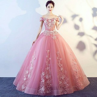 S~3XL Off Shoulder Floral Dusty Pink Ballroom Bridal Wedding Dinner Prom Dress#8