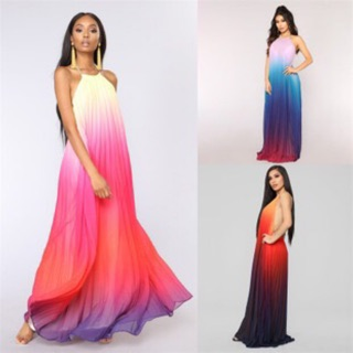 Women Sexy Backless Halter Tie Dye Ombre Chiffon Long Beach Holiday Dress