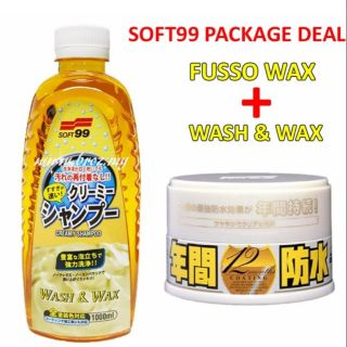 [PACKAGE DEAL] Soft99 Fusso Coat Light Color Wax+Wash&Wax Creamy Shampoo (1L)