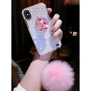 Luxury diamond cute hair ball lanyard bracket soft case for iphone 7 X XR XS 11 pro MAX 8 6S plus