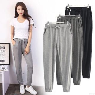 Women Fashion High Waist Sports Suits Casual Pants Loose Wide Pants
