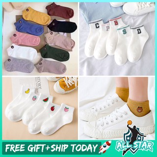 ALLSTAR 【Size 5 and Below】1pair Cute Cartoon Animal Fashion Cotton Female Male Unisex Ankle Short Sock Kaus Kaki