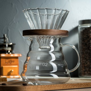【Coffee】Hand drip coffee pot of suit type solid wood filter beverage holder clouds utensils to share its V60 glass ho