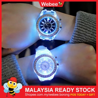READY STOCKWEBEE Couple Watch Jam Tangan Cancat LED Glow Watch