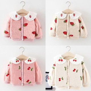 Kids Baby Girl Thicken Strawberry Print Cute Outerwear Jacket Clothes