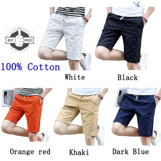 【Ready Stock】100% Cotton Men's Pants Casual Shorts Beach Pants