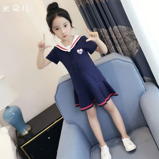 New style is on the marketChildren western style dress is han edition 2019 new child tide navy wind short-sleeved summ