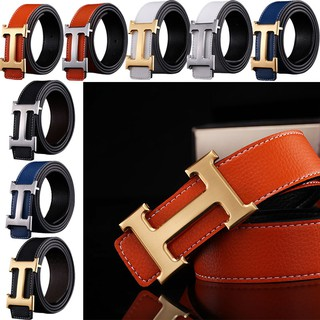 Business Leisure Genuine PU Leather H Smooth Buckle Litchi Grain Belt for Men