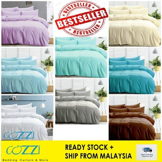 Cozzi Magic Colour Quilt Cover & Fitted Bed Sheet set Cadar King / Queen / Super Single Plain Microfiber