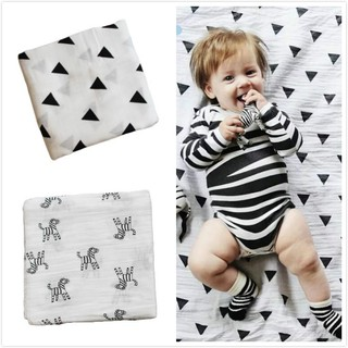 RHS Online 2PCS Muslin 100% Cotton Baby Blanket Swaddle Wrap Nursery Cover Newborn E