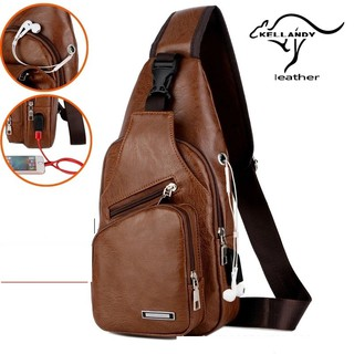 Men Fashion Waist Bag Casual Leather Shoulder Bag with earphone hole USB #524