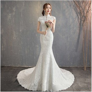 XS~2XL Lace Mermaid Trailing Cheongsam Wedding Bridal Photoshooting Dress Gown#8