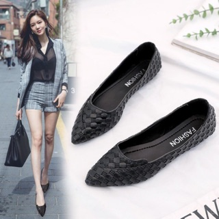 【Buy One Free One】Women Pointed Flats Fashion Black Work Flat Shoes Women Casual Flats Shoes Women Lazy Shoes
