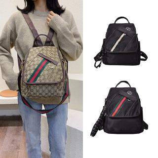 Gucci Classic Double G Pattern Brown Canvas Vintage Green Red Green Gg Backpack