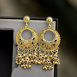 2019 Silver Round Egypt Vintage Jhumka Bells Tassel Earrings For Women Flower Classic Turkish Tribal Gypsy Indian