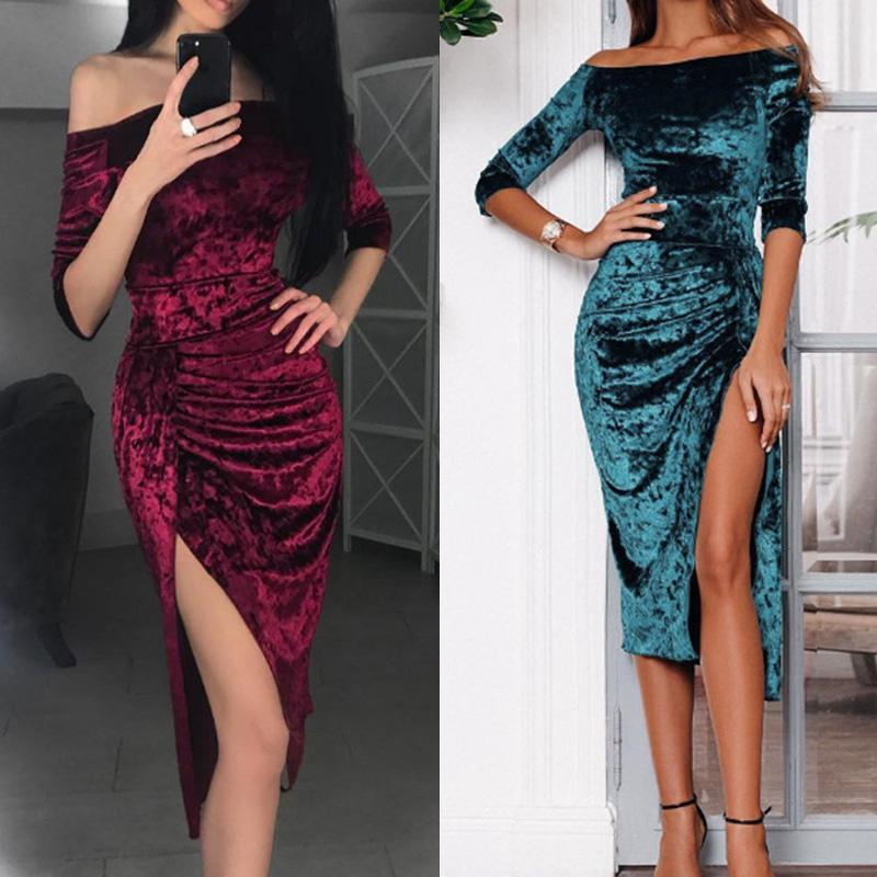 Women Ladies Solid Color Sexy Off Shoulder Mid Length Sleeve Dress Cocktail 2019