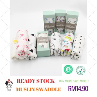 [ READY STOCK ] Baby Muslin Swaddle Premium Quality Bamboo Fiber Newborn 10 Different Design