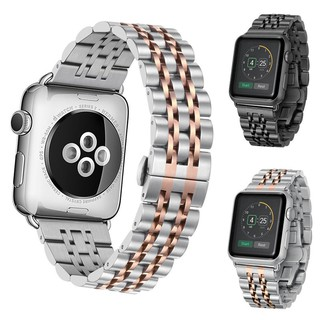 Seven Bead Stainless Steel Black Band Replacement Strap Classic Polishing IWatch