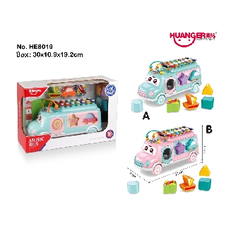 HUANGER Multifunctional Children Infant Baby Piano Xylophone Music Bus Early Educational Learning Baby Toys
