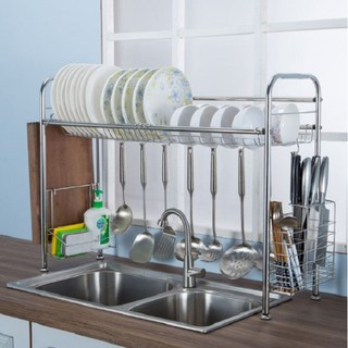 (Ready Stock) Kitchen Tool Sink Dish Drying Rack Stainless Steel Dish Storage with Chopstick Holder