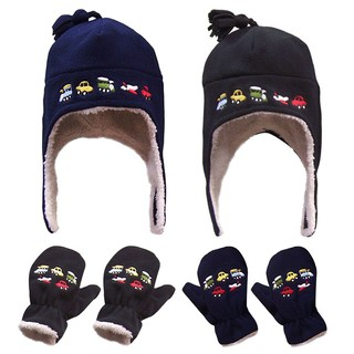 Lined Micro Fleece Embroidered Hat and Mitten Set