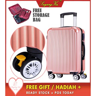 [M'sia] ReadyStock Premium High Quality Travel ABS Luggage Free Gift Matte L2