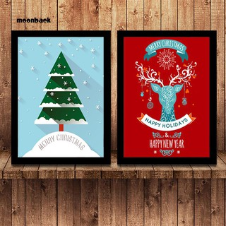 Mback_Christmas Tree Reindeer Canvas Painting Wall Picture Kids Living Room Home Decor
