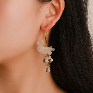 Fashion Charm Women Crystal Flower Long Earrings Jewelry Good Gift