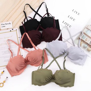 【Ready stock】Gathered girl bra corrugated beautiful fashion sweet push up